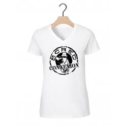 """tee-shirt femme Col V """"classic"""" blanc logo noir de scred connexion sur Scredboutique.com"""
