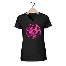 "Tee-shirt  femme""classico"" noir et rose  de scred connexion sur Scredboutique.com"