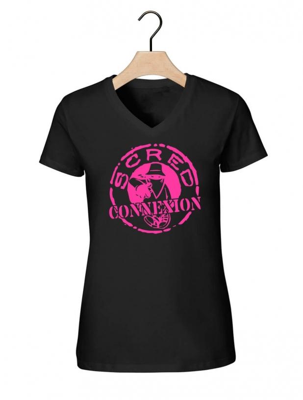 "Tee-shirt  femme""classico"" noir et rose"