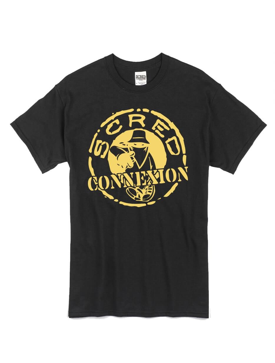 """tee-shirt """"classico"""" noir logo or de scred connexion sur Scredboutique.com"""