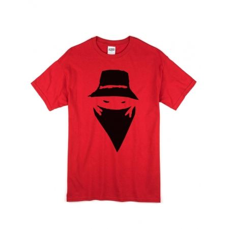 "tee-shirt ""visage"" rouge logo noir"