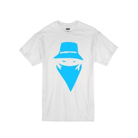 """tee-shirt """"visage"""" blanc logo bleu ciel"""