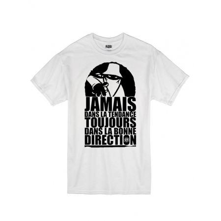 "tee-shirt ""jamais dans la tendance"" blanc logo noir"