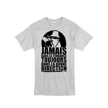 """tee shirt """"Jamais dans la tendance"""" gris et noir"""