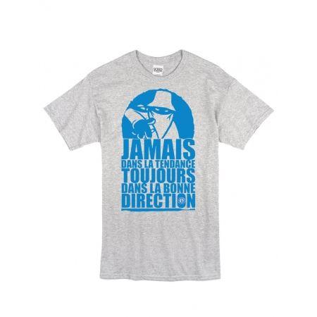 "tee-shirt ""jamais dans la tendance"" gris logo bleu"