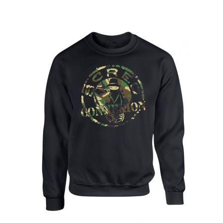 """sweat col rond """"classico"""" noir logo vert militaire"""