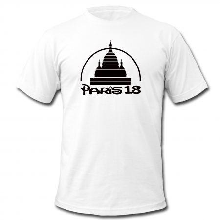 "tee-shirt ""Paris 18"" blanc logo noir"