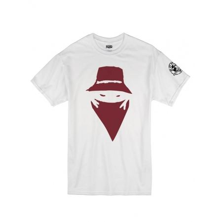 "Tee Shirt ""Visage"" blanc logo Burgundy"