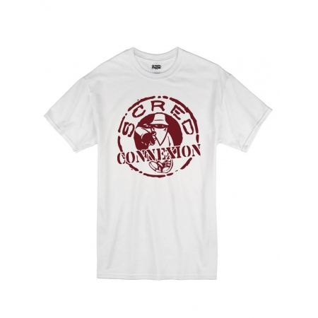 "Tee Shirt ""Classico"" blanc logo Burgundy"