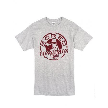 "Tee Shirt ""Classico"" gris logo Burgundy"