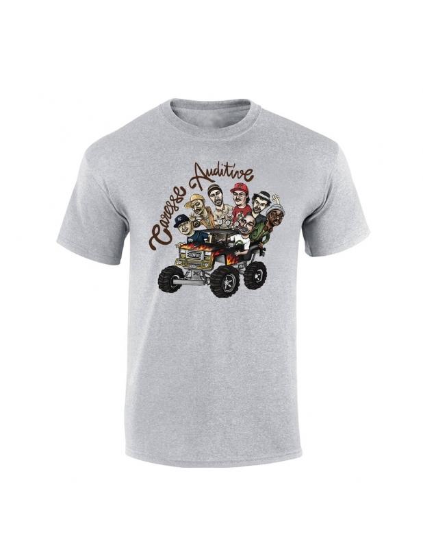 """tee-shirt """"Yoshi Caresse Auditive"""" gris"""