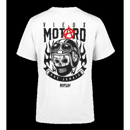 "T-Shirt Face ""Barlou"" blanc Manches courtes - Vieux Motard Logo Dos"
