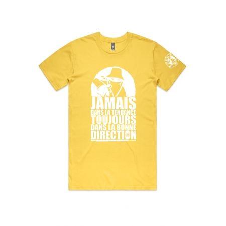 """T-Shirt """"Jamais dans la tendance"""" Jaune et blanc"""