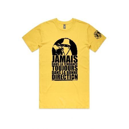 """T-Shirt """"Jamais dans la tendance"""" Jaune et noir"""