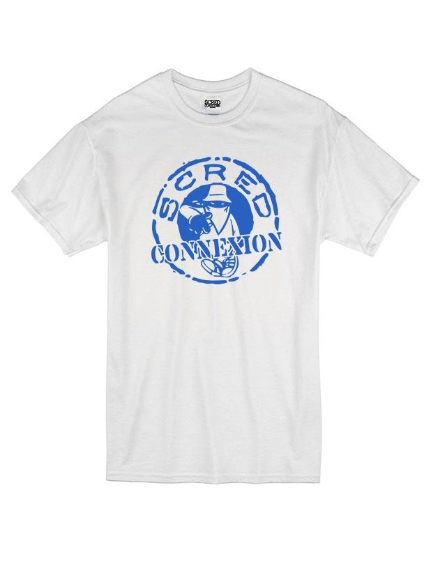 Tshirt Classico Blanc Bleu de scred connexion sur Scredboutique.com