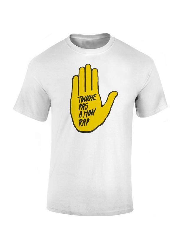 T Shirt  - Touche pas a mon rap blanc de rapattack sur Scredboutique.com